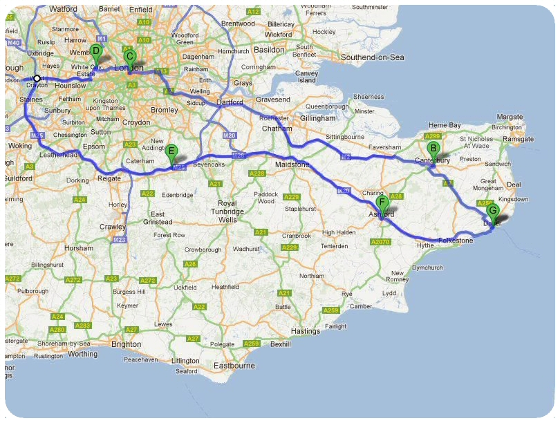 Carte Touristique Kent Angleterre.Carte Du Kent Angleterre Carte